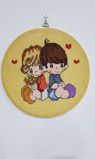 Handmade cross stitch embroidery