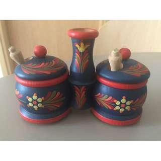 Wooden Salt and Pepper Container Bought in Budapest, Hungray