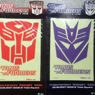 變形金剛 燙畫 一套2張 Transformers 2007年 狂派博派