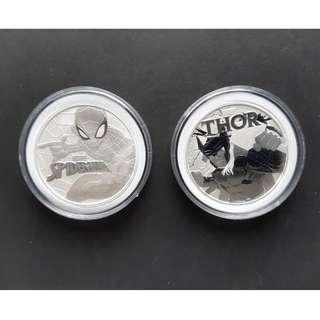 Spiderman and Thor 99.99% fine silver coins in capsules