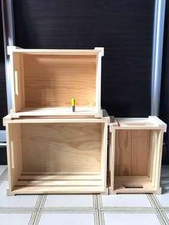 3 X Wooden Wine Crates boxes