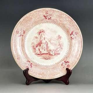 晚清民國胭脂紅西洋風景出口瓷盤