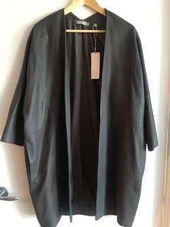 NWT - Womens Vince Open Front Leather Jacket