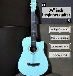 "🚚 2mths old 34"" Beginner Guitar"