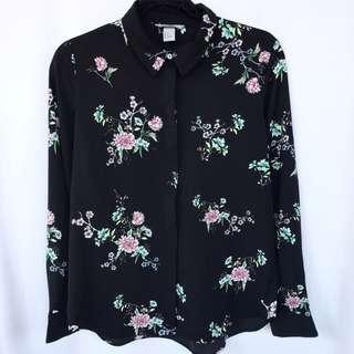H&M Flower Satin Shirt
