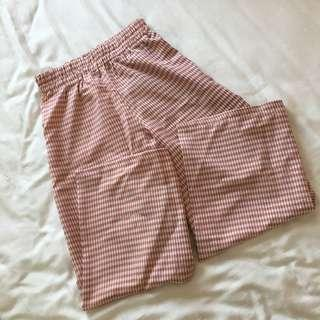 🚚 (2 colors) BNWT TEMT checkered high waisted culottes - pink