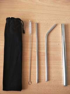 🚚 [instock] 5 pc set metal straws