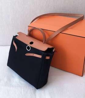 100% Authentic HERMES Herbag  2-in-1 PM Handbag, The 30cm
