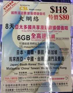亞洲8日6GB上網卡