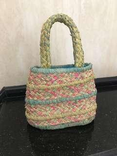 Gingersnaps Colored Straw Bag for Girls