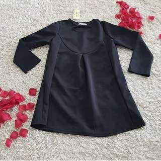 Dreaa bkk size XL ( long blouse / dress cantik / blouse import / black dress / dress elegan / dress bangkok / dress big size / blouse jumbo )