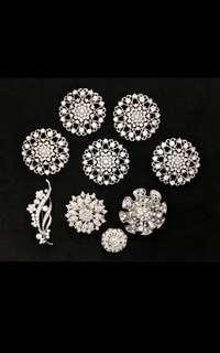 9 BRAND NEW BROOCHES