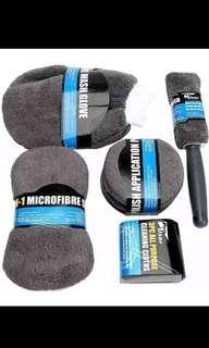 9Pc Microfiber Car Wash Supplies Cleaning Detail Kit