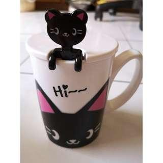 Cute Kitten Cups with Lid and Spoon