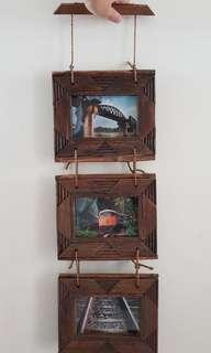 Woodcrafted photo frame for three 4R photo