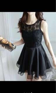 🚚 韓國連線洋裝 蕾絲公主風 伴娘服 無袖 蓬蓬裙