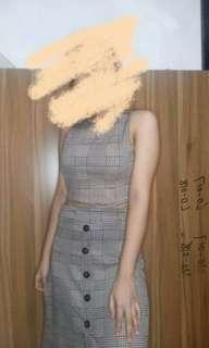 Plaid top and skirt terno