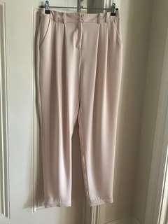 Blush dusty pink sandy tapered work corporate pants