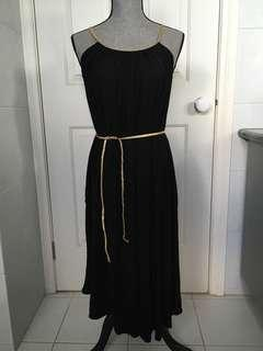 Black dress gold trim