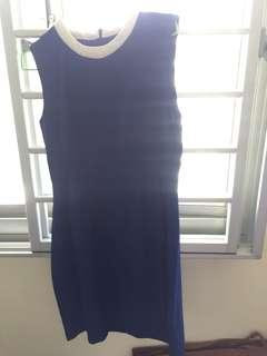Blue with white collar dress