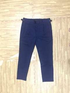 Zalora pleated trouser navy