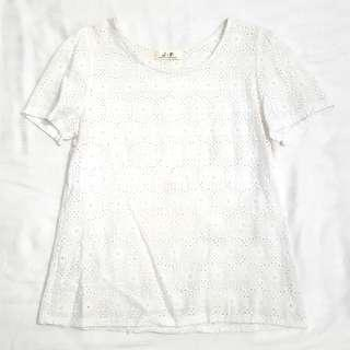 Simple Eyelet Crotchet White Top