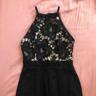 🚚 black lace halter romper