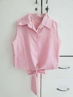 Kemeja sleveless semi crop pink #CNY2019