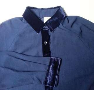 Navy Velvet Blouse