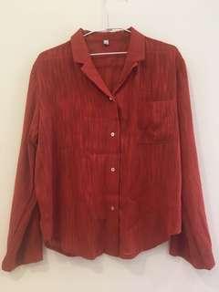 磚橘色復古寬袖襯衫