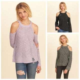 Hollister女喇叭袖露肩小性感針織上衣毛衣HCO off-shoulder top sweater Abercrombie & Fitch A&F AF AEO