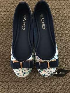 Blue Floral Flats with bow (Brand New)