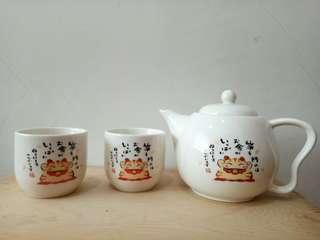 🚚 (出清品)招財貓泡茶壺和泡茶杯組,全新【 #半價良品市集】