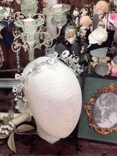 手工製作 綠白色 永生花布花 頭飾 半花環 結婚 婚紗 晚裝 小清新