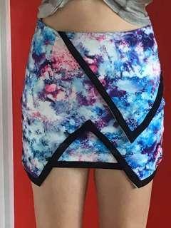 Astral tight mini skirt blue, purple, stars, clubbing