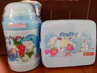 Brand New Children/Kids Blue Dolphin Water Bottle and Lunchbox Set with Free Mail