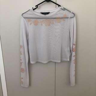 mint condition rose mesh top