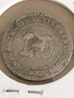 🚚 Straits Settlements QV 1900 10 Cents