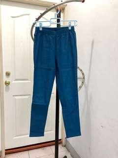 🚚 lativ 刷毛彈性緊身褲 / 藍L