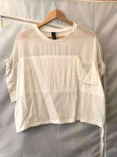 White Textured Wide Sleeves Loose Top 白色鬆身襯衫