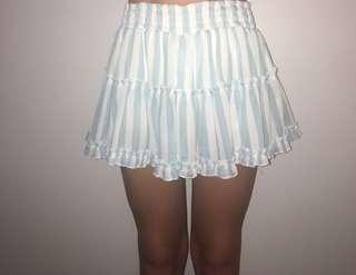 blue & white ruffled skirt
