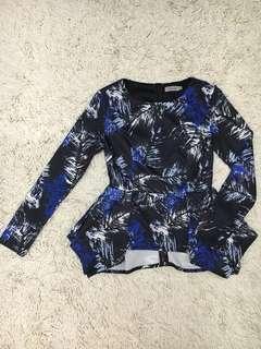 Zalia Peplum Floral in Blue size XS