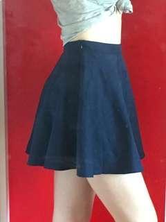 Navy blue fake suede circle skirt, Caroline Morgan