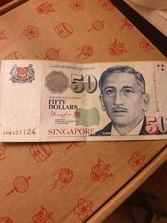 Nice number Potrait notes $50 face value