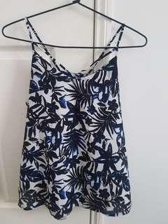 Blue black and white cross strap top - Size 10