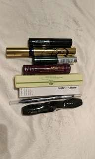 Various mascaras and eye products