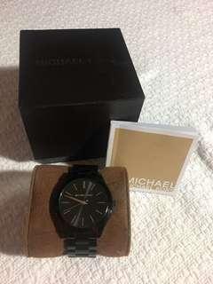 Michael Kors Mid-Size Black IP Slim Runway Three-Hand Watch