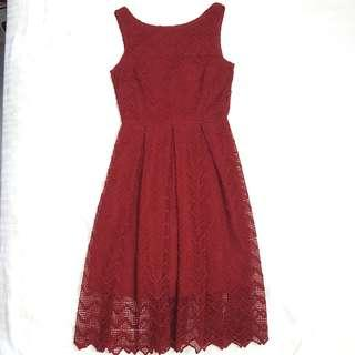 Wine Red Crotchet V Neck Midi Dress