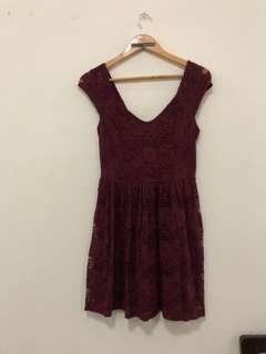 Dress Lace Maroon