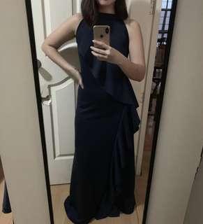 Navy blue neoprene long dress
